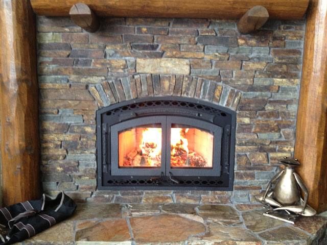 wood burring fireplace