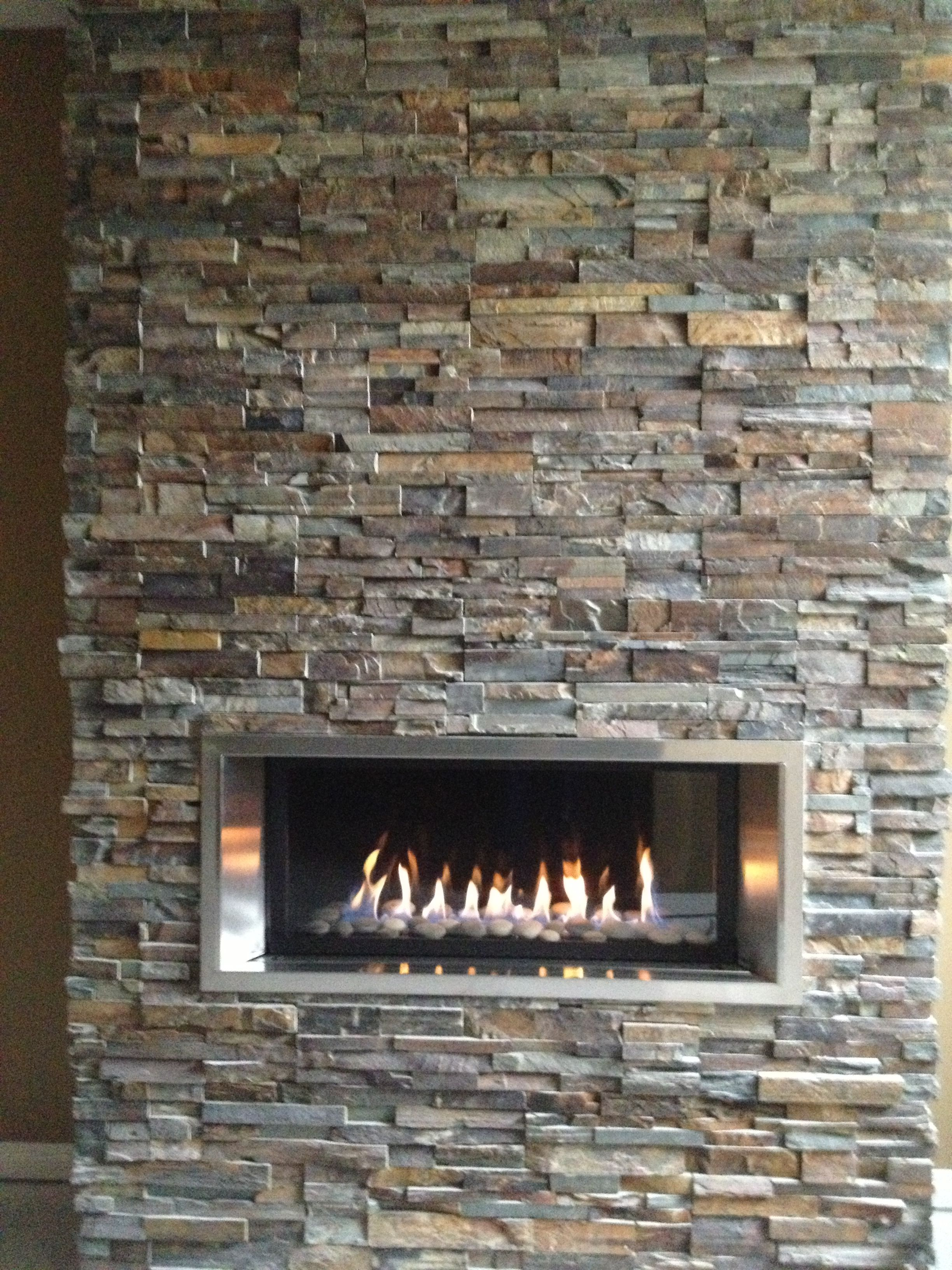 gas fire in rock wall